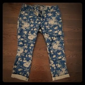 Ralph Lauren Floral Blue and White Jeans